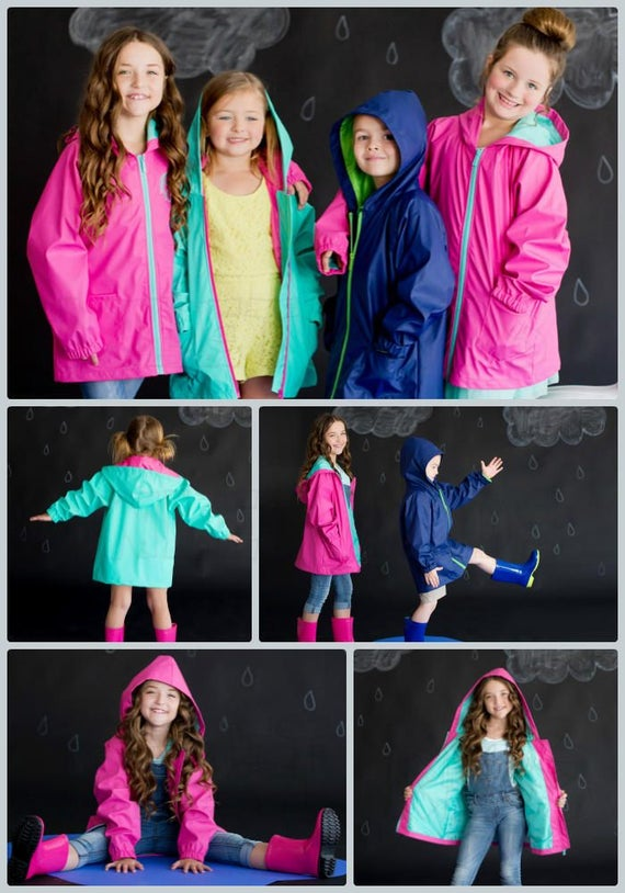 Monogrammed Youth Rain Jacket Both Boys and Girls.