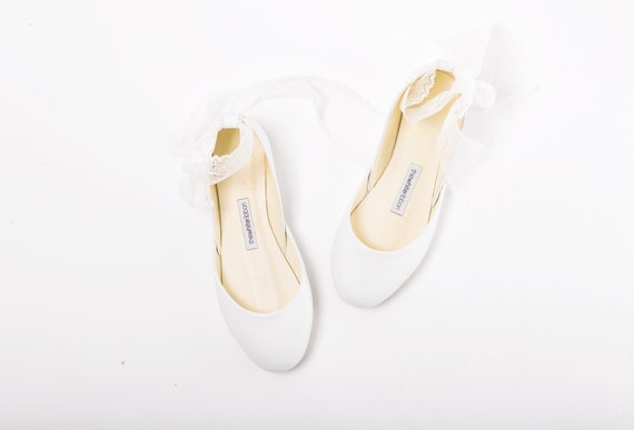 The Lace Wedding Ballet Flats | Wedding Shoes in White with French Lace | Bridal Ballet Flats in White | French Lace