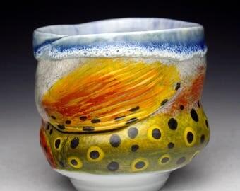 RainbowTrout Mugs Fish Cups Japan Nature Fine Art Decor New Glaze Combination Cone 10 Food Safe Microwavable