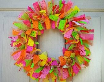Rag Wreath, Summer Wreaths, Fabric Wreath, Ribbon Wreath, Party Decoration, Pink Wreath, Hawaiian Luau Tropical Decor, Front Door Wreath