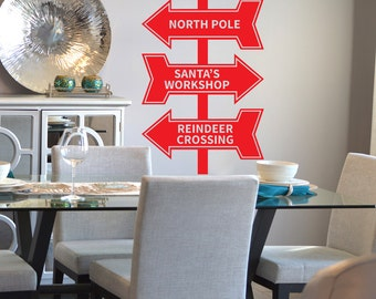 Christmas Decal, North Pole Decal, Santa's Workshop Decal, Reindeer Crossing, Holiday Decal, Christmas Window Decal, Christmas Wall Decal