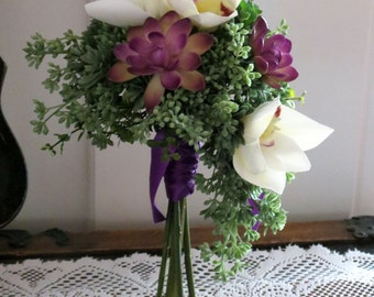 Succulent Bridesmaid Bouquet, Orchid and Succulent Wedding, MADE TO ORDER, Purple Bouquet, Seeded Eucalyptus, Purple and White Wedding