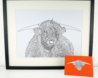 Highland Cow Print, A3 picture, Highland Cow drawing, Scottish art print, Scotland cow, Highland cattle poster, A3 Print, large print