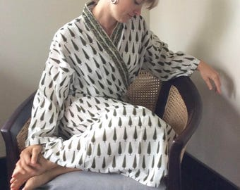 Mother's Day Sale Robe Kimono Cotton Kimono Grand Tree Hand Stamped Kalamkari Shipping Included in the U.S.