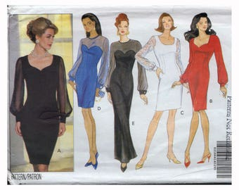 """UNCUT Sewing Pattern for Sweetheart Neckline Dress with Sheer Sleeves Vintage 90s Size 14 16 18 Bust 36 38 40"""" Butterick 6402"""