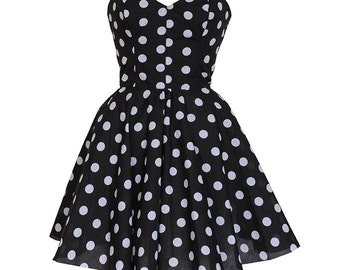 Clearance Sale Pin-up Black Polka Dot Prom Party Dress