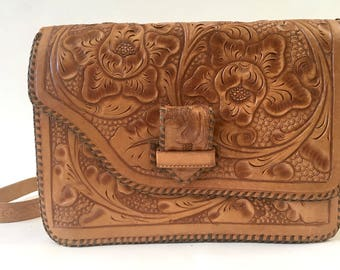 Tooled Leather Purse, Mexican Leather Purse, Tooled Floral Leather Purse, Leather Crossbody Bag,Carved Leather Bag