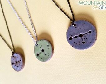 Cancer Constellation Necklace – Round Ceramic Pendant Necklace, Zodiac Jewelry, Constellation Jewelry