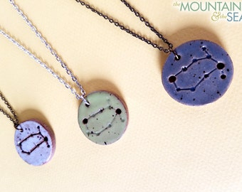 Gemini Constellation Necklace – Round Ceramic Pendant Necklace, Zodiac Jewelry, Constellation Jewelry