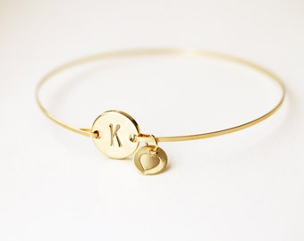 Monogrammed Bracelet, Initial Bangle, Gold Initial Bracelet, Silver Initial Love Bangle, Custom Initial, Bridesmaids Bangle, Heart Bangle