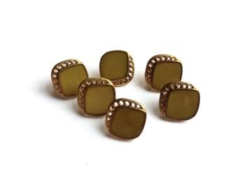 6 Olive Green & Copper Gold Vintage Plastic Buttons