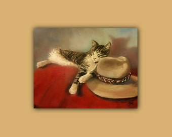 Original Oil, CAT and the Hat, Original Oil Painting, cat, hat, sleeping, still life, red, signed by the artist