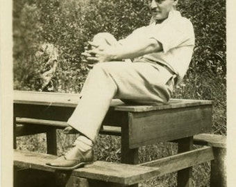 "Vintage Photo ""The Picnic Thinker"" Snapshot Antique Photo Old Black & White Photograph Found Paper Ephemera Vernacular - 132"