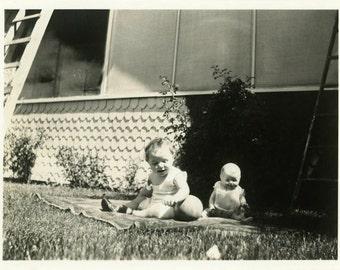 "Vintage Photo ""Creepy Baby Doll Alert"" Snapshot Antique Photo Old Black & White Photograph Found Paper Ephemera Vernacular - 200"