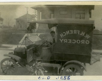"Vintage Photo ""WH French Grocery"" Work Truck Sign Snapshot Old Antique Photo Black & White Photograph Found Paper Ephemera Vernacular - 175"