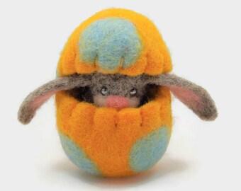Easter Egg for Children, Waldorf Toy, Felt Bunny in a Felt Egg, Easter Egg Ornament
