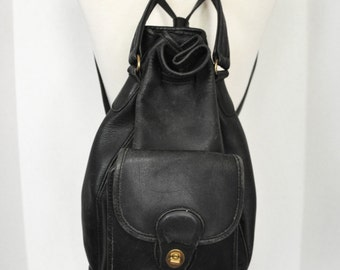 Black Leather Coach Duffle Drawstring Backpack