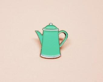 Lapel Pin vintage enamel teapot