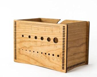 Yarn Bowl - Yarn Box - Knitting Accessories - Needle Gauge - Yarn Needle Gauge - Gift for Knitters - Knitting Bowl - Wood Yarn Bowl