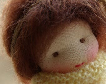 Jennifer Natural Fibers Doll Waldorf Inspired Doll by Atelier Lavendel Pocket Doll Cuddle Doll 7in OOAK doll soft toy ECO friendly