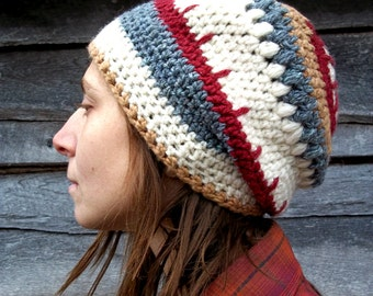 Slouchy Tam Hat in Handspun Wool and Organic Cotton / Unisex, Men, Women, Slouchy Beanie Hat in Red, Brown, Grey, White