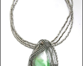 Fused glass wire wrapped pendant necklace - Complex Wire wrap - Silver and green - Wire wrapped jewelry OOAK