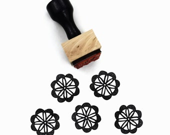 Scallop Flower Stamp - Scalloped Flower Pattern Stamp - Wood Mounted Rubber Stamp by Creatiate