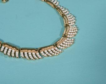 Vintage 1950s Trifari Wedding Necklace White Fringe Bridal Fashions