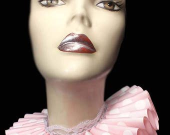 Pink Ruffled Collar Polka Dot Flair Elizabethan Neck Ruff Victorian Steampunk Queen