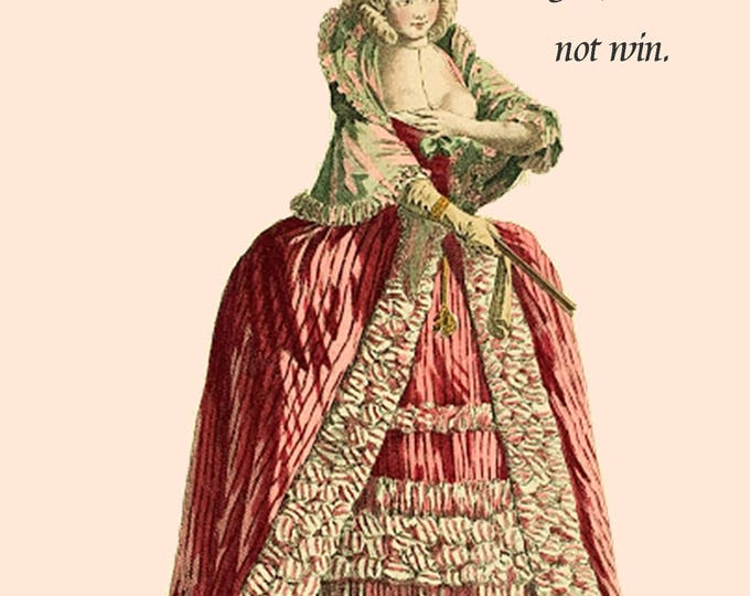 Don't Start With Me. You Will Not Win. ~ Marie Antoinette Card. Postcard. Greeting Card. Gift For Her. Marie Antoinette Hair. Pink. Beige.