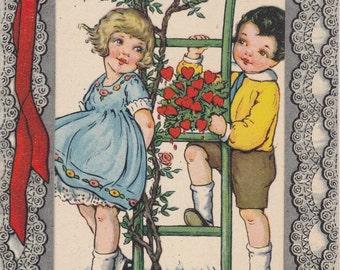 Mine's The Bleeding Heart- 1920s Antique Valentine Card- Eyes Like Forget-Me-Nots- Flower Garden- Paper Ephemera Postcard