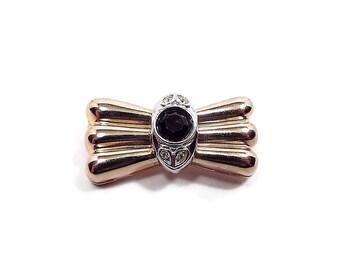 Vintage Rhinestone Bow Brooch Two Tone Black and Clear Retro Metal Jewelry Holiday Fashion