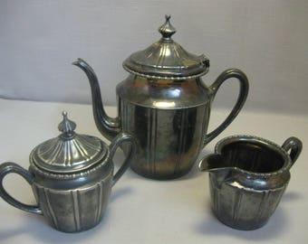 New Amsterdam Silver Co Silver Plate Tea Pot Set Creamer Sugar Bowl Tea Pot #620  1884-1962