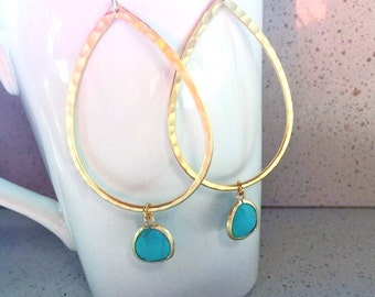 Gold Turquoise Earrings. Gold Earrings.Gold Drop Earrings. Gold Dangle Earrings. Blue Earrings. Turquoise Jewelry. Simple Gold Earrings. Mom