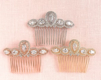 Bridal Hair Comb, Vintage Style Crystal Comb, Something Blue, Vintage style Wedding comb, Rose gold, Hair clip, Vanessa Hair comb