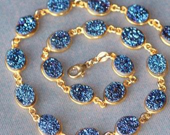 Sapphire Navy Blue GENUINE Druzy Gemstone Necklace,Gold Bezel Druzy Quartz,Navy Midnight Blue Druzy,Drusy,Gemstone Tennis Choker,Geode,OOAK