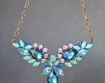 LAST 1! Bermuda Blue Pacific Opal Cluster Marquise Statement Necklace,V Shaped Multi Crystal Pendant,Layering Necklace,Bib,Cool Blues,Greens