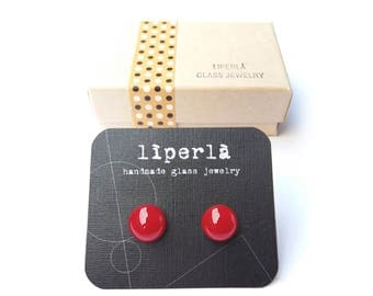 Red stud earrings - Bright red glossy stud earrings - red fused glass ear post