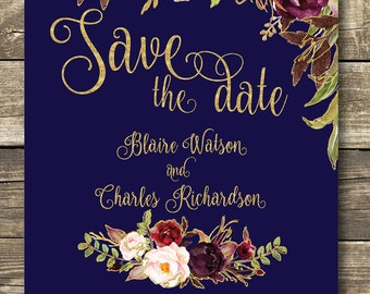 Printed Save The Date - Fall Floral Watercolor Wedding - Gold / Navy / Burgundy / Marsala / Wine Rustic Wedding