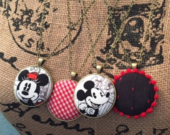 Mickey and Minnie Mouse Large Necklace Pendants