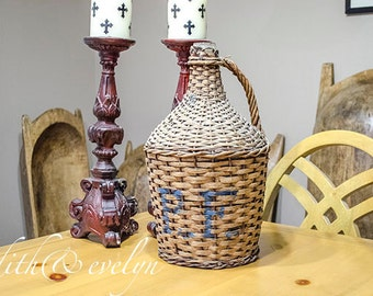 Antique FRENCH Demijohn Bottle, Initials, Wicker Wrapped, Monogram