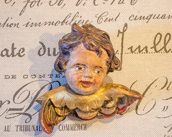 Vintage Carved Wood Cherub, with Gesso Overlay, Handpainted, From Italy