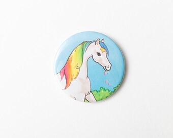 Starlite, Rainbow Brite's Horse - A Pocket Mirror made from a Vintage Rainbow Brite Book, 58mm 2.3 Inches