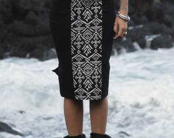 Long High Tube Skirt - Geoprint, High waisted Skirt, Stretch Skirt, Geometric, tube skirt, cotton skirt.