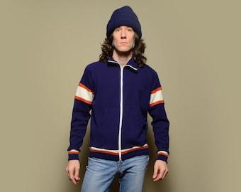 vintage 70s 80s track jacket navy blue rust orange white stripe jacket acrylic athletic warm up jacket M/L 1970 1980 menswear