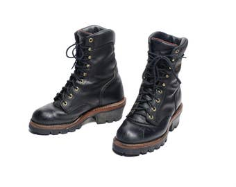 vintage Chippewa work boots lineman logger waterproof membrane Chip-A-Tex men size 8.5 8.5E wide distressed black leather work boot