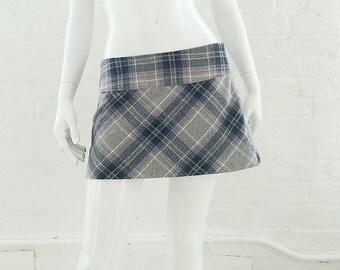 Gray plaid skirt | Etsy