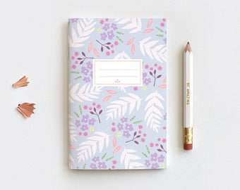 Spring Floral Journal & Pencil Set, Midori Insert, Hand Drawn Illustrated Leaves Purple Floral Notebook - 3 Sizes - Blank, Lined or Dot Grid