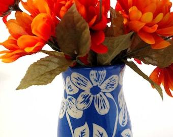 Handmade Flower Vase   Ceramic Flower Vase   Blue Ceramic Vase   Stoneware Vase   Blue Pottery Vase   Gift for her   Handmade Ceramic Vase