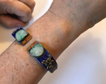 Sterling Silver, Cobalt Enamel, and Jade Antique Chinese Men's Cuff Bracelet